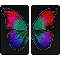 Wenko 2521474500 nbsp herdabdeckplatte Universal Butterfly by Night Set di 2 nbsp per Tutti i Piani Cottura  Vetro  Multicolore