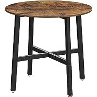 VASAGLE Esstisch klein, runder Küchentisch, für Wohnzimmer, Büro, 80 x 75 cm (Ø x H), Industrie-Design, vintagebraun…