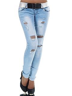 N447 Damen Jeans Hose H/üfthose Damenjeans H/üftjeans R/öhrenjeans R/öhrenhose R/öhre