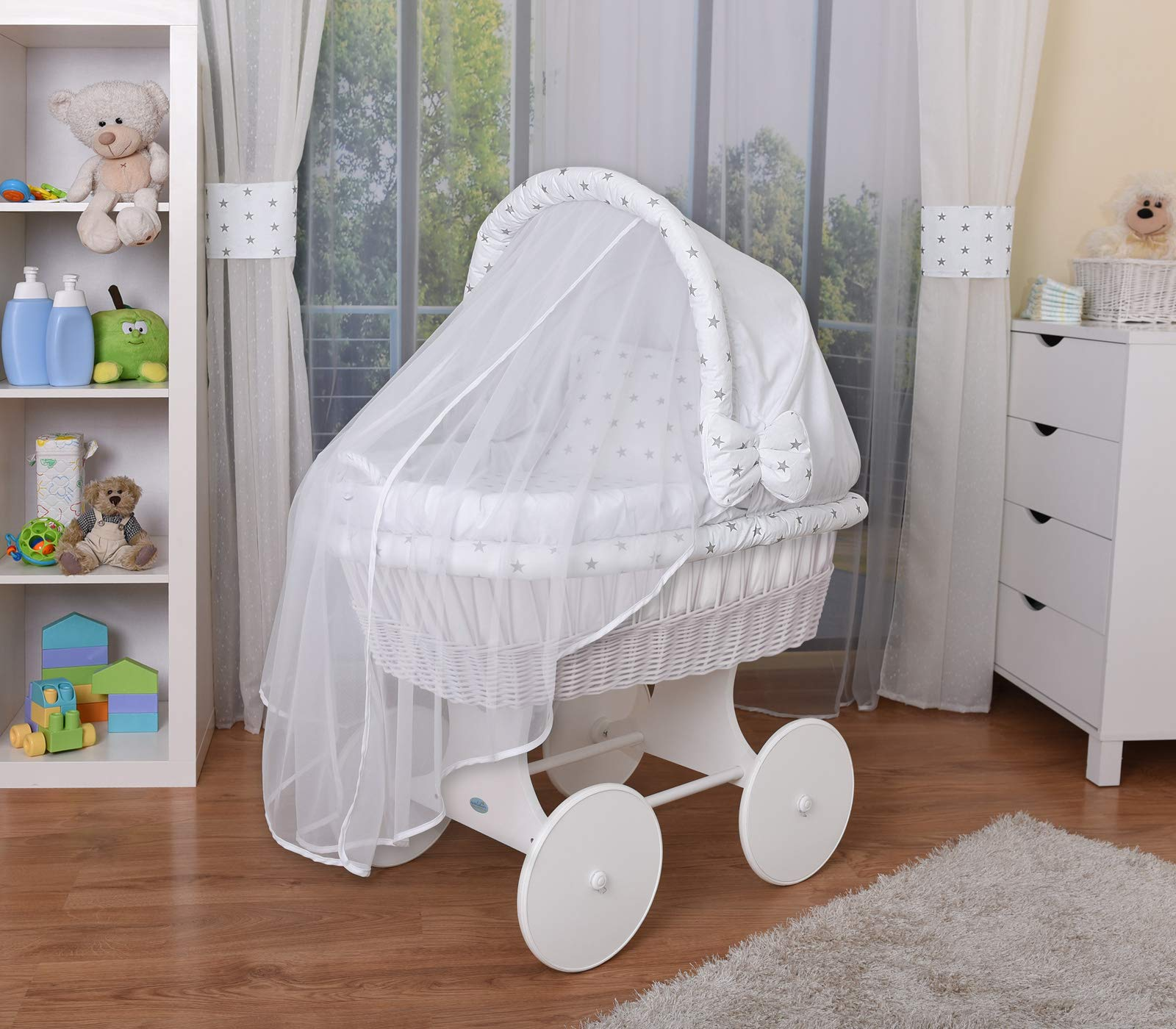 WALDIN Baby Wicker Cradle,Moses Basket,44 Models Available,White Painted Stand/Wheels,Textile Colour White/Grey Stars  For more models and colours on Amazon click on WALDIN under the title Bassinet complete with bedding and stand Certified to safety standard EN 1130-1/2 2