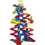 Fisher-Price FXK59 - Little People Hochhaus Rennbahn, Rollbahn mit Geräuschen und 2 Spielfiguren, ca. 93 cm hoch, Kleinkind Spielzeug ab 18 Monaten