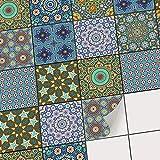 creatisto Mosaikfliesen Folie | PVC Fliesen-Aufkleber - Wandfliesen von Bad u. Küche renovieren | Wanddeko für Küchenrückwand und Badfliesen | 10x10 cm Motiv Orientalisches Mosaik - 20 Stück