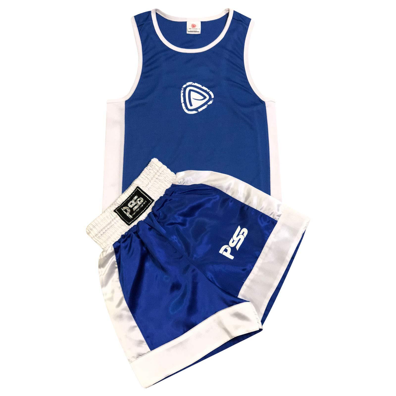 bc1c2ce76f Completo da Boxe Pugilato Bambini Uniforme 2 Pezzi (Canotta & Pantaloncini)  Blu-Bianco