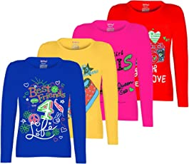 Kiddeo Girl's Cotton Full Sleeve T-Shirt - Pack of 4