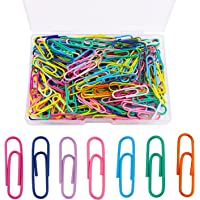 kuou 200 Pcs Coloured Paper Clips, Plastic-Coated Metal Paperclips Paper Clips Clamps with Box for Office School…