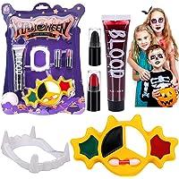 Halloween Trucco Kit Pittura Viso Corpo, Sangue Finto, Denti da vampiro, Strega, Fantasma Realistico Vampiro Zombie…