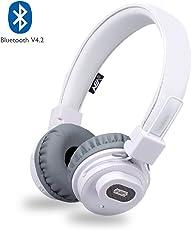 NIA Bluetooth Kopfhörer Kabellos on-Ear HiFi Stereo Kopfhoerer mit eingebautem Mikrofon für Handys Free Calling, Wireless Bluetooth Leicht Kopfhörer Kompatibel mit iPhone iPad Samsung HTC LG (Weiß)