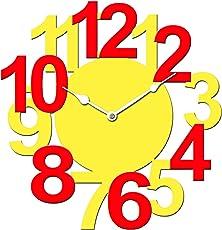 Sehaz Artworks BigNum Manufactured Wood 12 inch Designer Wall Clock for Home and Kitchen