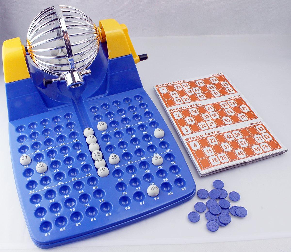 GYD-Bingo-Lottotrommel-Bingo-Spiel-mit-Lotto-und-vielem-Zubehr-Deluxe-Komplett-Set