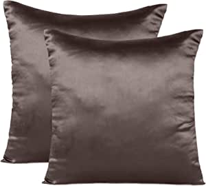 Oussum Soft and Comfortable Silky Satin Silk Pillowcase Pillow Case Cover for Hair & Skin Home Decor (Cushion Cover Brunette Brown, 12 x 12)