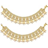 Peora Gold Plated Bridal Kundan Pearl Anklet Payal Ethnic Indian Traditional Jewellery for Women