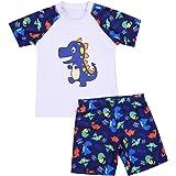 Bañador para Niños Pequeños 2 Piezas Traje de Natación Verano Camiseta de Manga Corta Pantalones Cortos Ropa de Baño con Esta