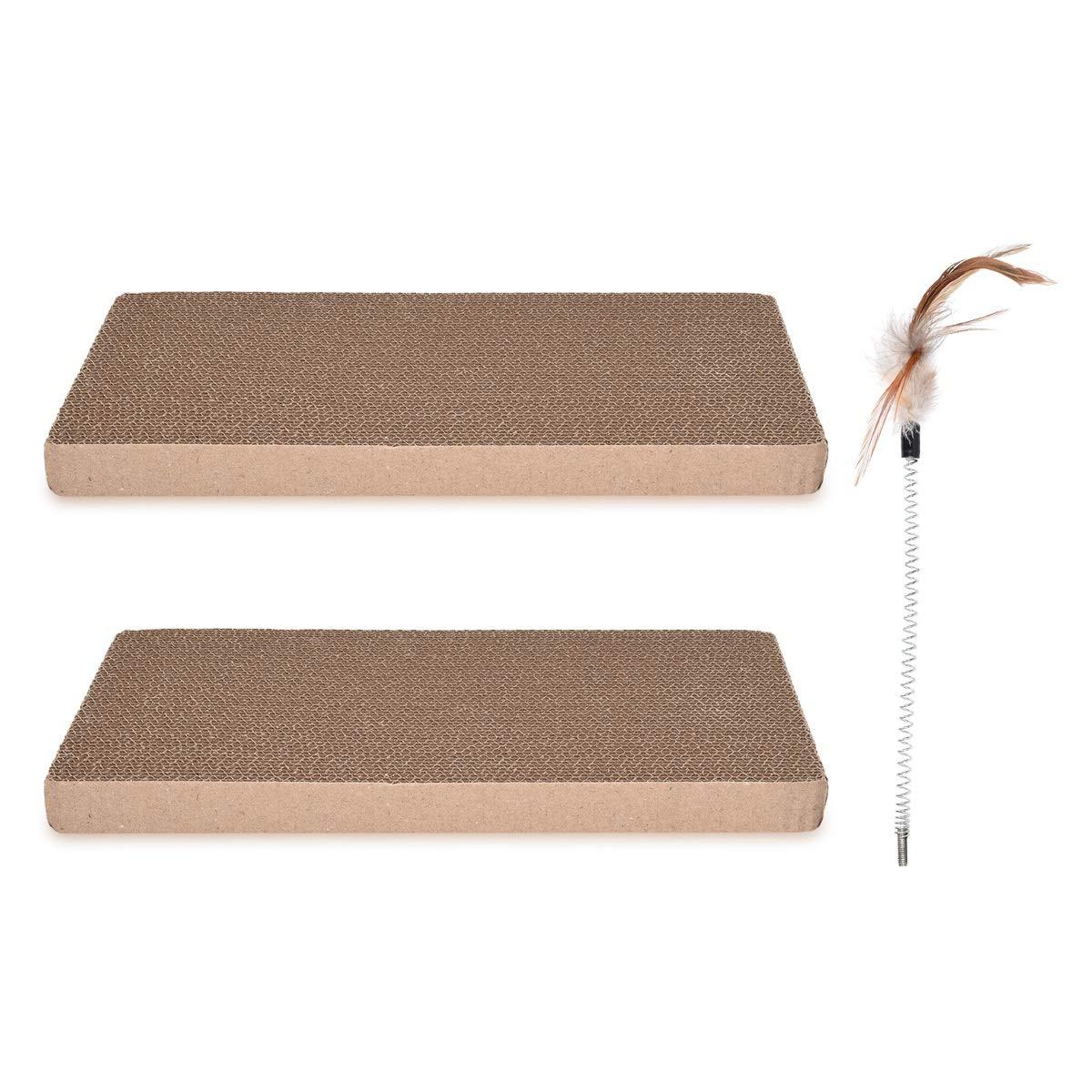 Navaris Set de Repuesto para rascador de Gato – Tabla de rascar para Mascotas – Set de 2 tableros afiladores de uñas de cartón Corrugado y bambú