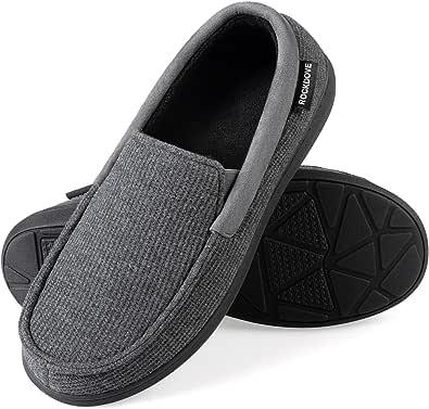 RockDove Men's SILVADUR Anti-Odor Moc Slipper with Removable Insole, Size 7 UK Men, Grey