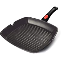 AIGLEFEU 28cm Square Griddle Pan for Induction, Electric & Gas Hobs with Detachable Snap-on Handle   PFOA Nonstick Cast…