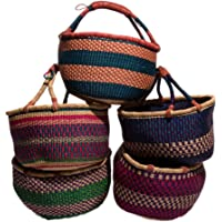 Großer Bolga Rundkorb Korb Original Afrika Ghana Einkaufskorb Ledergriff Fair Trade Ca : 35-40cm