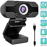Aiglam Webcam HD 1080P, webbkamera Full HD USB-kamera med mikrofon USB,H.264-komprimering snabbare uppladdningar, för videoch