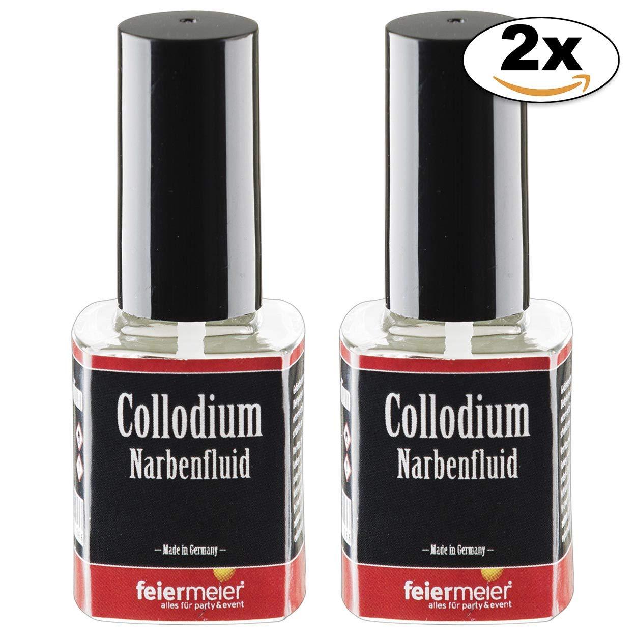 feiermeier Narbenfluid Collodium Sparset 2x11ml Pinselflasche für realistische Narben 2x11ml. Collodium / Collodion…