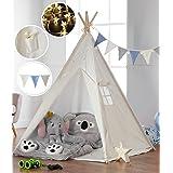 Haus Projekt Barn TeePee med ljusslingor, flaggväv och vattentät bas 160 cm Tipi-tält (blå)