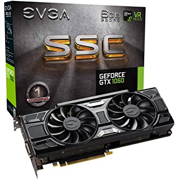 EVGA 06G-P4-6267-KR - Geforce GTX 1060 SSC Gaming ACX 3.0 - Scheda Grafica PCIe da 6 GB GDDR5, nero