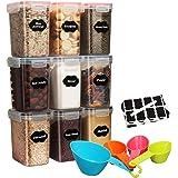 1.6L Boite de Rangement hermétique Lot de 9 - Boîte de Conservation Plastique Alimentaire Sans BPA, Pour Céréales, Farine, Av