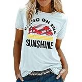 heekpek T-Shirt Femme Été Chemisier Chic T-Shirts Blouse Col Rond Tops Manches Courtes T Shirt Grande Taille Coton T Shirt Im