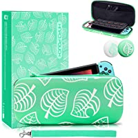 Animal Crossing Switch Case with 2 Thumb Grip Caps, Waterproof PU Switch Console Protective Travel Case with 10 Game…