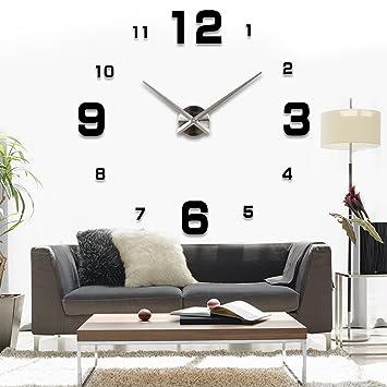 asiv xxl 3d diy moderne wanduhr, wohnzimmer wandtattoo dekoration ...