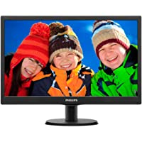 "Philips 193V5LSB2 Monitor 18.5"" LED, 5 ms, VGA, 1366 x 768 a 60 Hz, Attacco VESA, Nero"