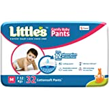 Little's Baby Pants Diapers with Wetness Indicator and 12 Hours Absorption |Medium 32 Count|