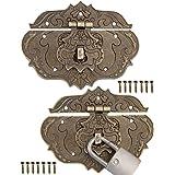 FUXXER® - 2x antieke sluitingen, brons ijzer design, meubelsluitingen, beslag voor hangsloten aan kisten, kisten, 75 x 58 mm