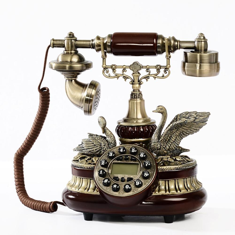 BBIAY Retro telefono per scrivania, stile cigno impresso antico, home creativo, identificazione del