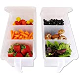 Samplus Mall Pack of 2 Refrigerator Organizer Container Square Handle Food Storage Organizer Boxes - Clear with Lid, Handle a
