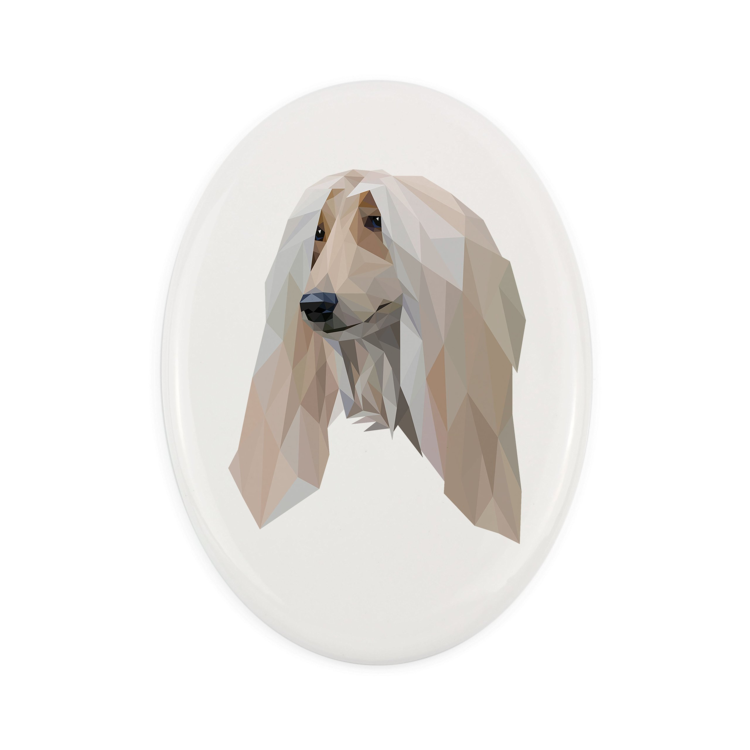ArtDog Ltd. Afghan Hound, Tombstone ceramic plaque with an image of a dog, geometric