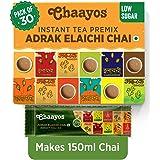 Chaayos Instant Tea Premix - Low Sugar - Adrak Elaichi Flavour (30 Sachets) | Masala Tea Powder | Masala Chai | Premix Ready