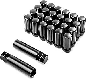 Krator 24 X Schwarze 14 X 2 Radmuttern 2 Schlüssel Diebstahlsicherung Sicherungsmutter 7 Spline Drive Geschlossener Endkegelsitz Gesamtlänge 5 1 Cm Auto