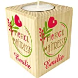 Bougie personnaliséeMerci Maîtresse – Porte Bougie en bois personnalisé avec le prénom – Cadeau de fin d'année scolaire pour