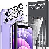 LK 6-pack 3 st skärmskydd och 3 st kameralinsskydd kompatibel med iPhone 12 mini 5,4 tum härdat glas, enkel raminstallation,