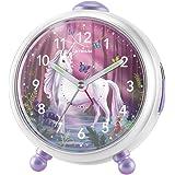 Atrium Miraluna A932-0 Réveil pour enfant fille motif fée licorne sans tic-tac, fonction snooze, lumineux, analogique à quart