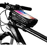 Niluoya Bolsa de Movil Bicicleta Manillar, Soporte Impermeable Accesorios Bicletas Porta Bike Montaña Frame Bag, Táctil de Tu