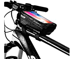 Niluoya Bike Phone Mount Bag, Bicycle Waterproof Mountain Cycling Frame Top Tube Handlebar Pack with Touch Screen Pouch Case