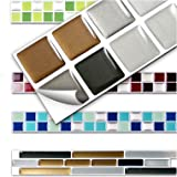 Wandora 7 Stück 25,3 x 3,7 cm Fliesenaufkleber Kupfer dunkelgrau Silber Design 6 I 3D Mosaik Küche Bad Fliesendekor Aufkleber Wandaufkleber Wandsticker W1431