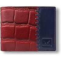 AL FASCINO Leather Men's Wallet (AFAT0013V1MRBLU_Gold, Blue & Maroon)