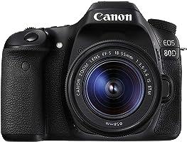 كاميرا كانون EOS 80D مع معدات عدسة -  24.2 ميجابكسل، كاميرا اس ال ار، 18 - 55ملم اي اس اس تي ام، اسود