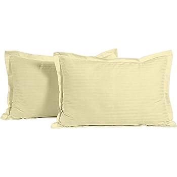 "Ahmedabad Cotton Luxurious 2 Piece Sateen Pillow Cover Set - 17""x 27"", Beige"