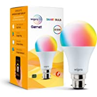 wipro WiFi Enabled Smart LED Bulb B22 12.5-Watt (16 Million Colors + Warm White/Neutral White/White) (Compatible with…