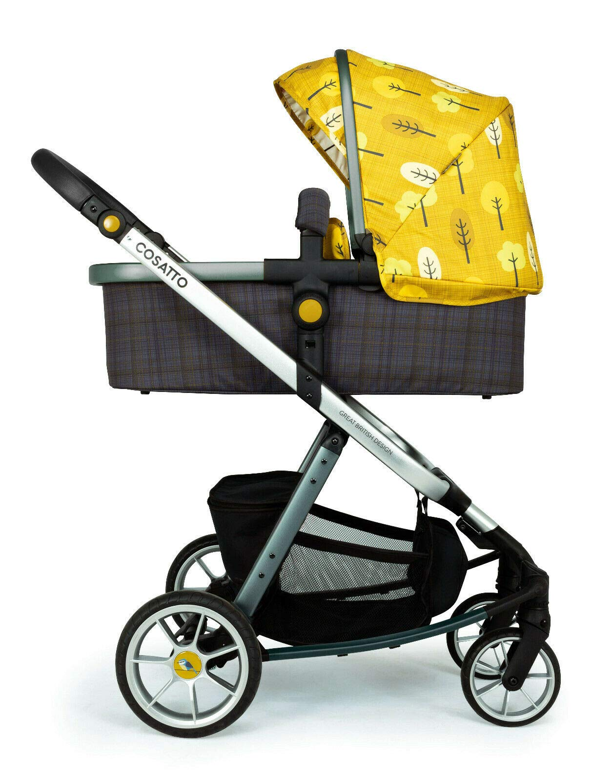 Cosatto Giggle Quad Pram & Pushchair Spot The Birdie Cosatto Enhanced performance. unique tyre material and all-round premium suspension give air-soft feel. Comfy all-round. spacious carrycot for growing babies.  washable liner. reversible reclining seat. Ultimate buy. tested up to a mighty 20kg for even longer use. big 3.5kg capacity basket for big shop 2