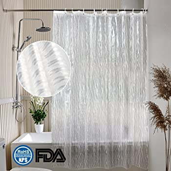 Frosted Shower Curtain Mildew Resistant Waterproof Liner With 3 Weighted Magnets 72W X 72L 180 180cm Eurcross Christmas Ornament