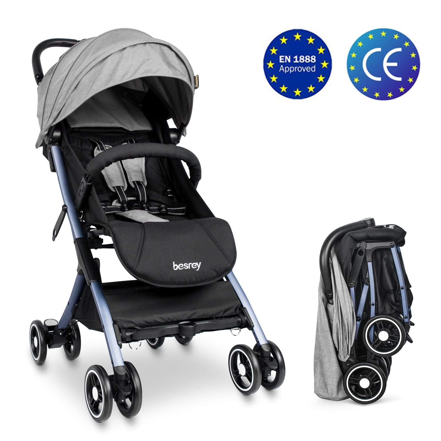 Lightweight Stroller Buggy Besrey Travel Buggy With Reclinable Backseat Easy One Hand Fold Compact Airplane Stroller Gray 0 36 Months