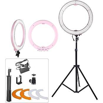 ASHANKS 18 inch Ring Licht mit Ständer 240 LED MSD 5500K Dimmbare Leuchtstoff Blitz Beleuchtung für Fotografie /Youtube/Make-up /Video/Foto/ Shooting (Pink)